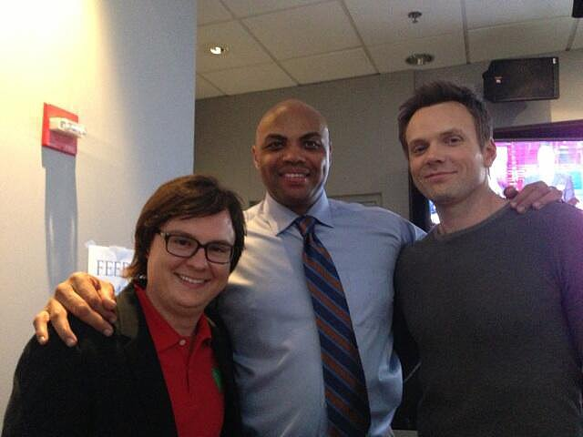 Joel McHale got in a picture with Clark Duke and Charles Barkley on the set of The Soup. Source: Twitter user joelmchale