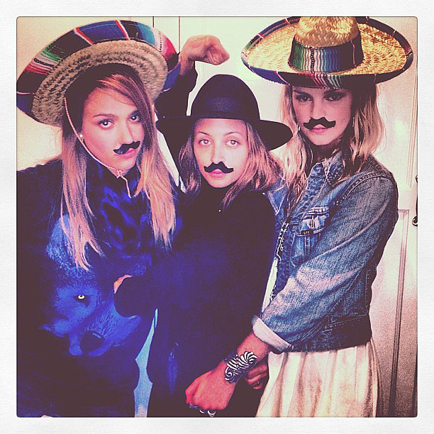 Jessica Alba, Nicole Richie, and Kelly Sawyer wore mustaches and stylish sombreros while celebrating at an event. Source: Instagram user nicolerichie