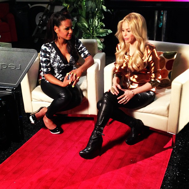Christina Milian and Shakira had some girl talk backstage on The Voice.  Source: Instagram user christinam