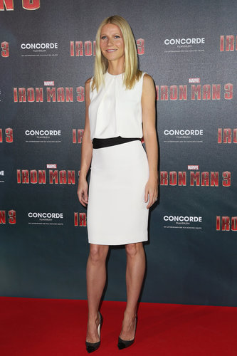 Gwyneth looked sleek and chic in a white pleated KaufmanFranco dress and cap-toe Christian Louboutin pumps at an Iron Man 3 photocall in Munich, Germany.