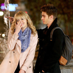 Cute Emma Stone and Andrew Garfield on Spider Man 2 Set