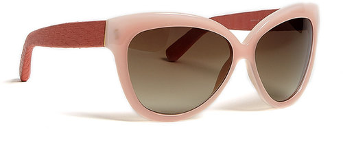 Linda Farrow Luxe Scallop & Salmon Snke Curved Square Sunglasses