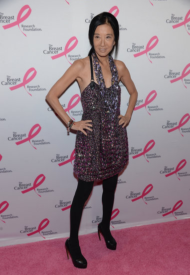 Vera Wang quite literally sparkled at the Hot Pink Party in a glittering minidress, which she tempered with black tights and heels.