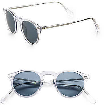 Oliver Peoples Gregory Peck Oval Plastic Sunglasses/Crystal