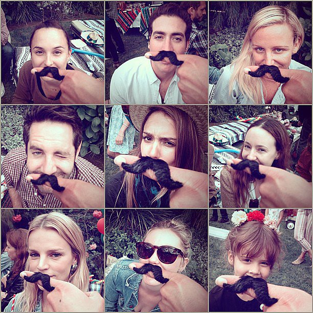 Cash Warren had some mustache fun with Honor at a friend's birthday party. Source: Instagram user cash_warren