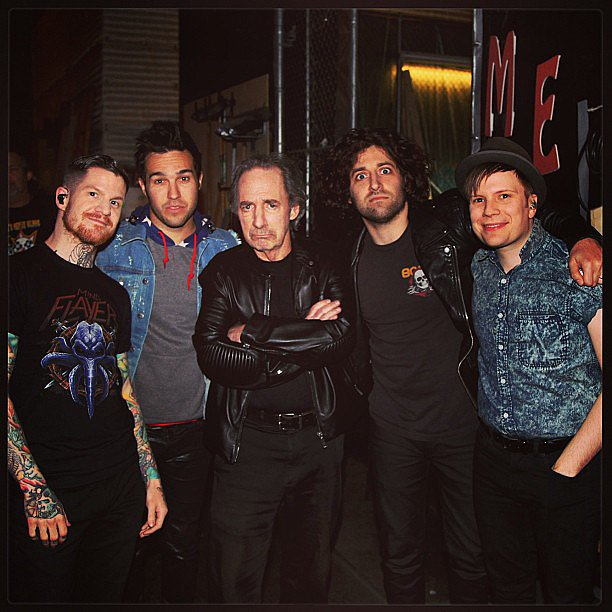 Actor Harry Shearer made friends with Fall Out Boy on the set of Conan. Source: Instagram user teamcoco