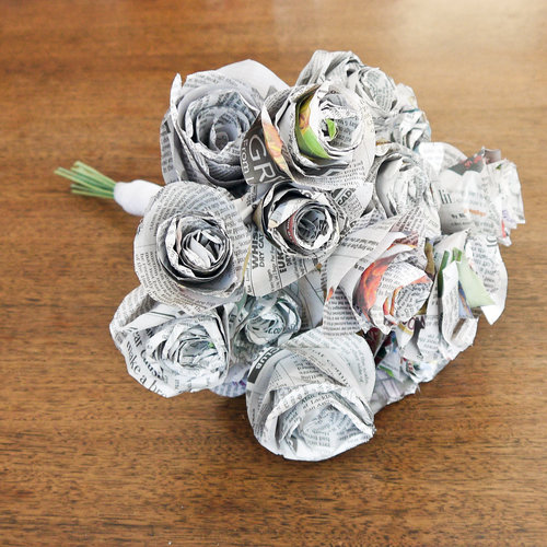 DIY Newspaper Wedding Bouquet