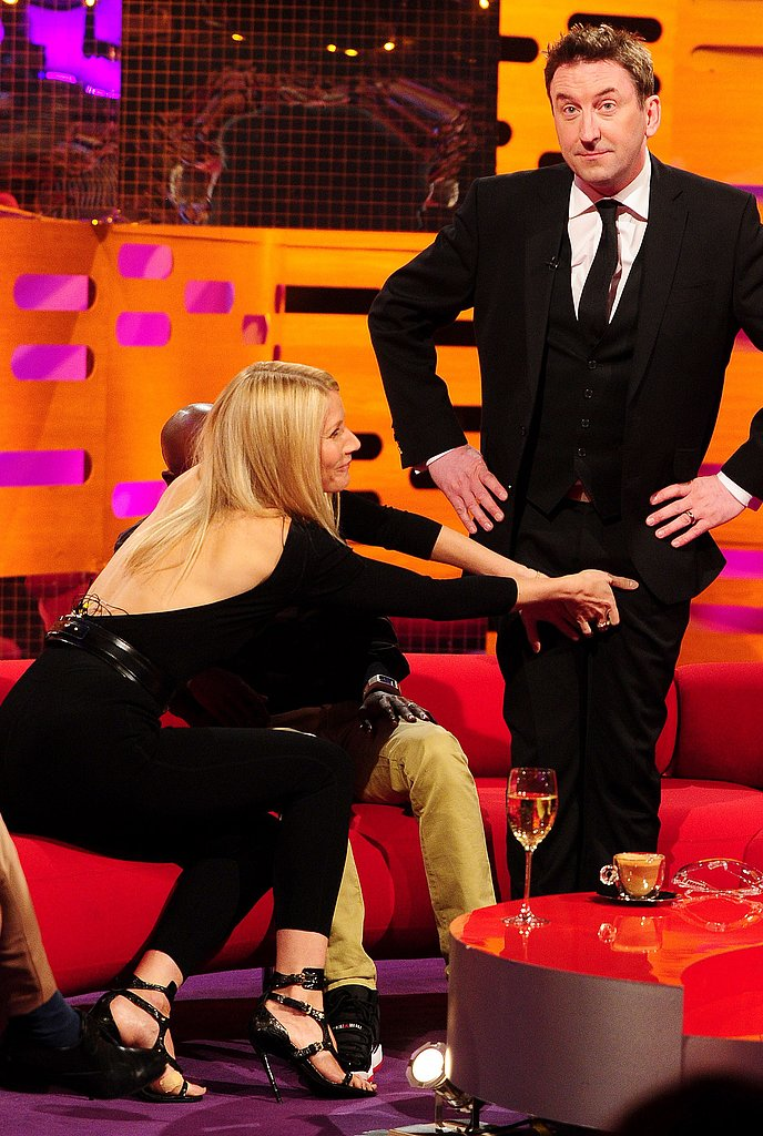 Gwyneth Paltrow revealed a seriously sexy skin-baring back detail during her Graham Norton Show appearance.