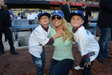 Britney Spears took her sons, Jayden James and Sean Preston, to a Dodgers game in LA in April 2013.