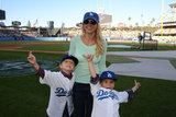 Britney Spears's sons, Jayden James and Sean Preston, goofed off on the LA Dodgers field in LA.