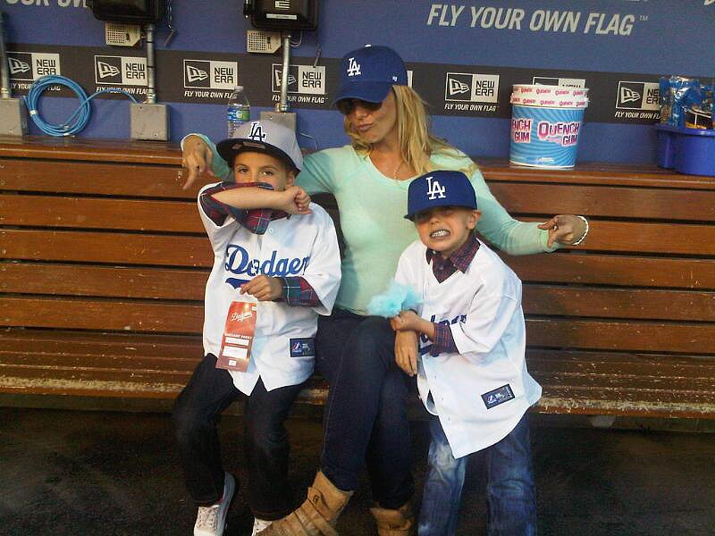 Britney Spears shared this photo of her and her boys in the Dodger dugout.  Source: Twitter user britneyspears