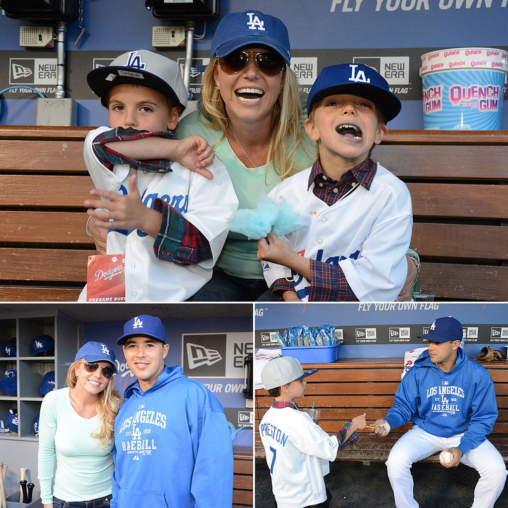Britney Spears and Her Boys Go Blue For a Day With the LA Dodgers