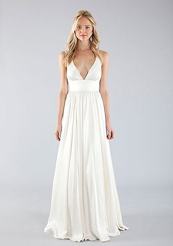 We love the simplicity and understated femininity of this Nicole Miller gown ($1,455).