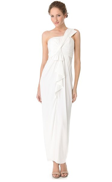 Modern and romantic, BCBG Max Azria's Barbara gown ($288) offers just enough interest via chic ruffle detailing.