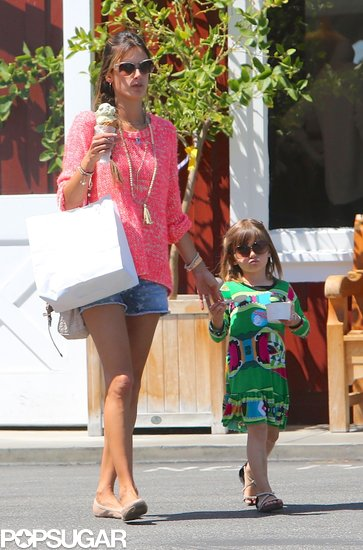 Alessandra Ambrosio and Anja Mazur stopped for ice cream in LA.