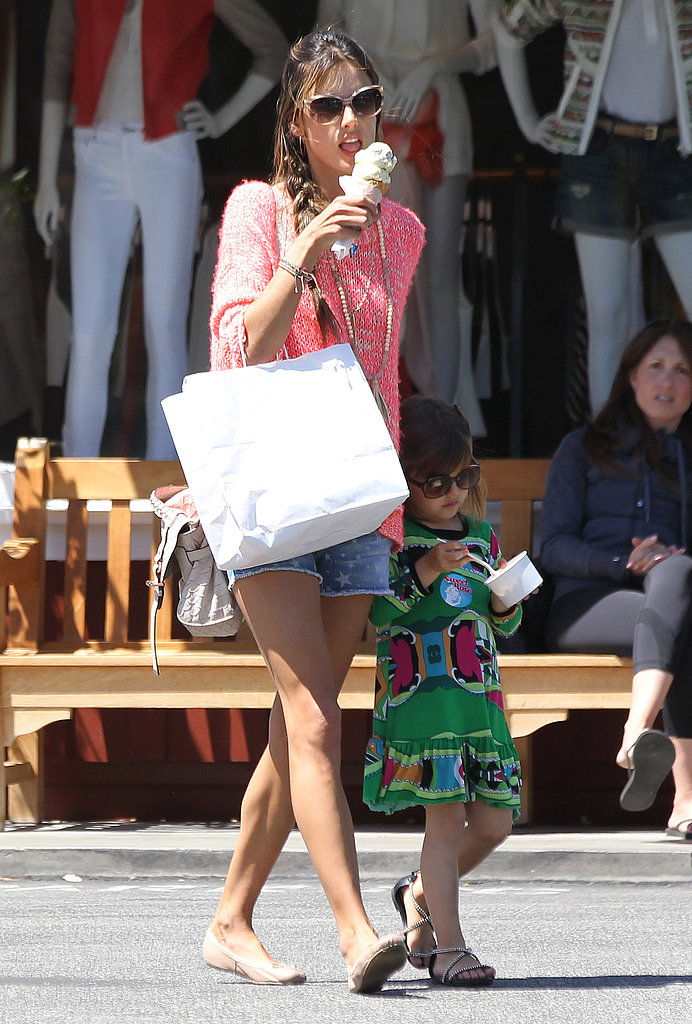 Alessandra Ambrosio and Anja Mazur stopped for ice cream at the Brentwood Country Mart in LA.