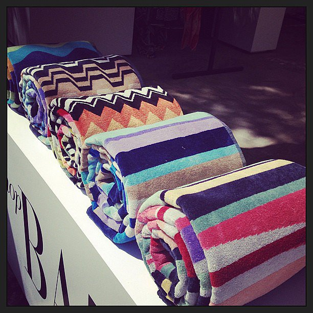 Striped beach towels greeted us at the Harper's Bazaar pool party.