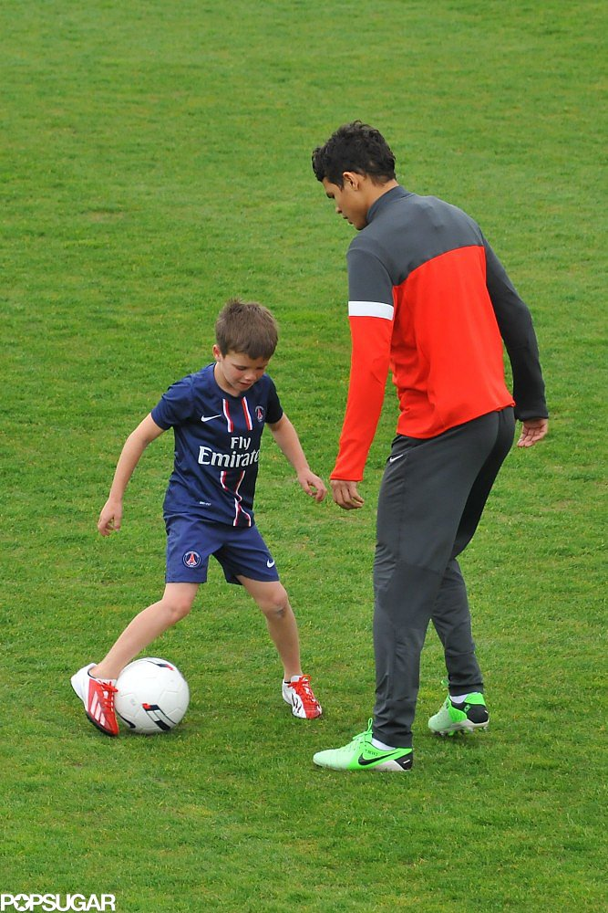 Cruz Beckham shuffled down the field with a Paris Saint-Germain player.