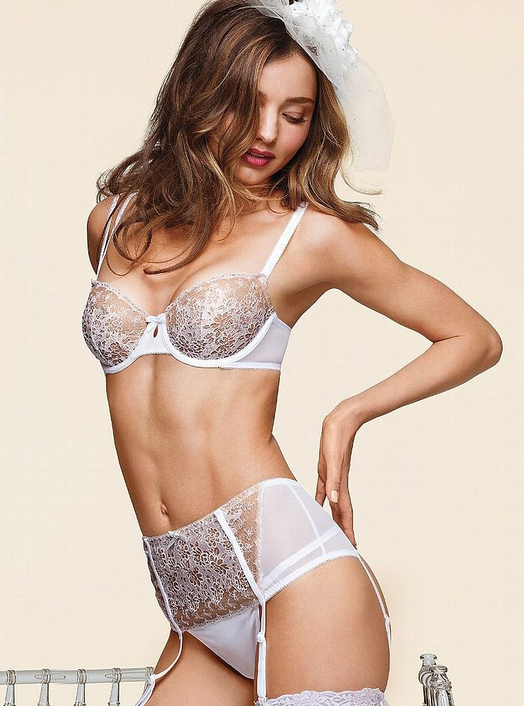 Miranda Kerr was featured in Victoria's Secret's Spring 2013 bridal lingerie collection lookbook.