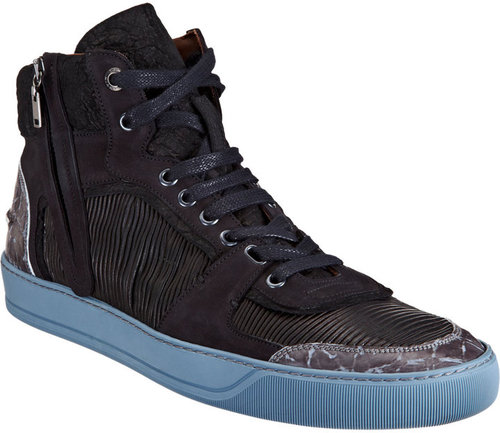 Lanvin Pleated Panel High Top Sneaker