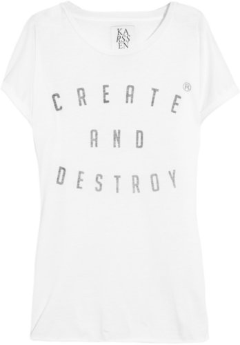 Zoe Karssen Create and Destroy cotton and modal-blend T-shirt