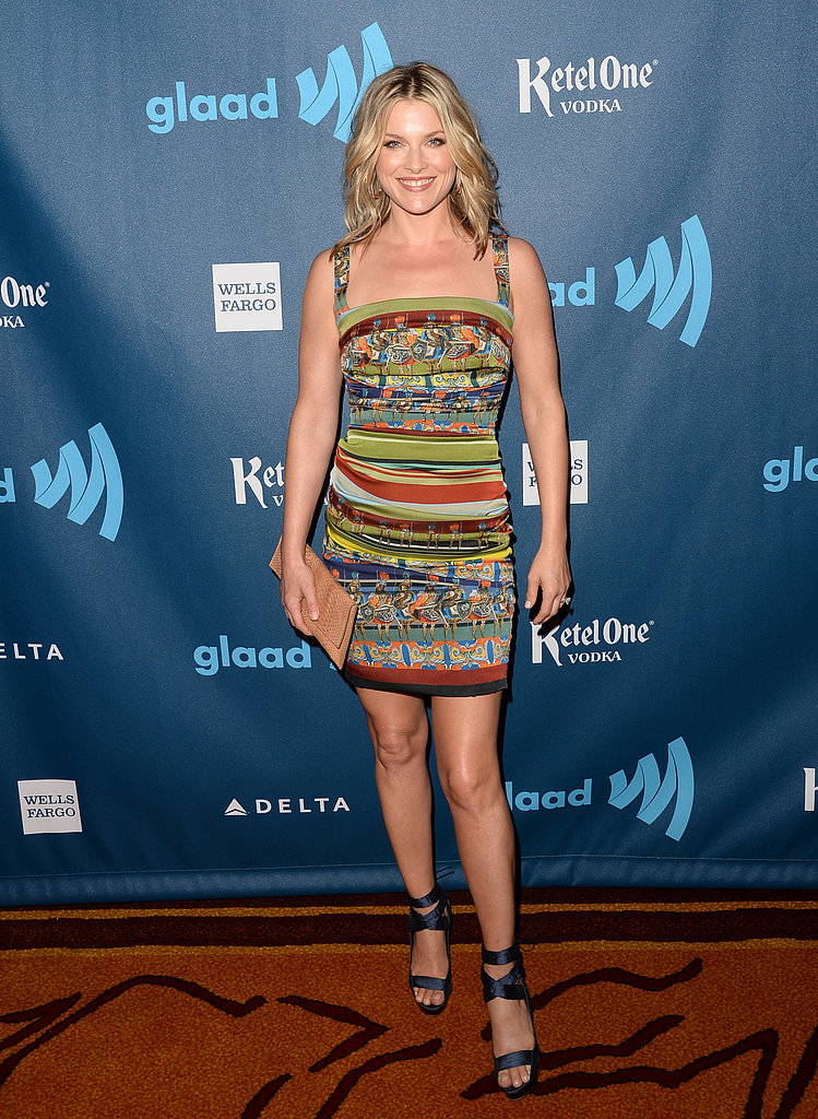 Ali Larter showed off her stems in a multicolored minidress by Dolce and Gabbana, strappy Burberry sandals, and a Calvin Klein clutch.