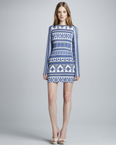 Pencey Geometric-Print Mesh-Back Dress
