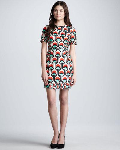 Milly Short-Sleeve Geometric-Print Dress