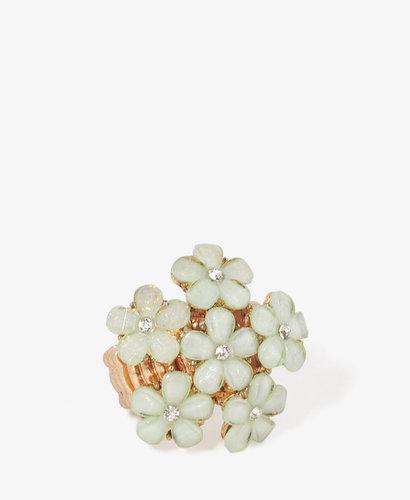FOREVER 21 Rhinestone Flower Bed Ring