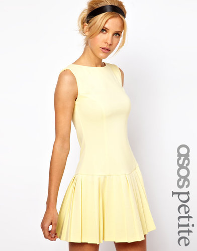 ASOS PETITE Exclusive Mini Dress With Pleat Skirt And Drop Waist