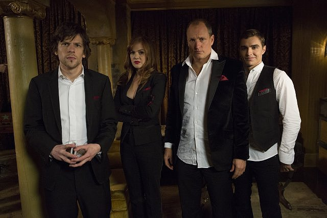 Now You See Me  Who's starring: Jesse Eisenberg, Isla Fisher, Woody Harrelson, Dave Franco, and Mark Ruffalo Why we're interested: The magic in this heist thriller looks awesome, and we love the actors performing the tricks. Plus, it's a twist on magic movies, since these illusionists are giving their audiences cash — cash they make disappear from banks. When it opens: May 31  Watch the trailer for Now You See Me.