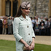 Kate Middleton Baby Bump Pictures in Green Mulberry Coat