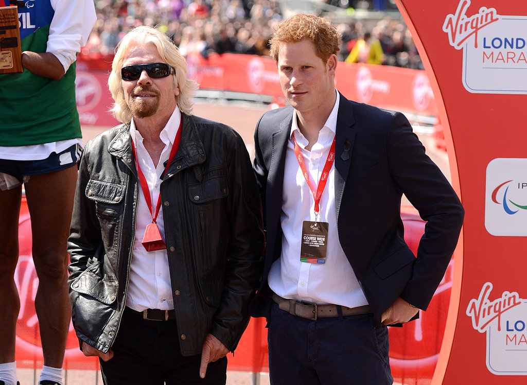 Prince Harry chatted with Sir Richard Branson at the London Marathon.