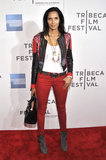 Padma Lakshmi looked downtown cool at the screening of Sunlight Jr., wearing an embroidered leather jacket, skinny red jeans, and suede ankle boots.
