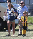 Britney Spears walked around the field with Jayden and her pup.
