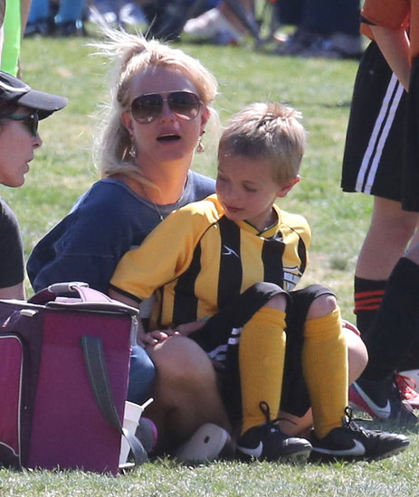 Britney Spears held Jayden in her lap.