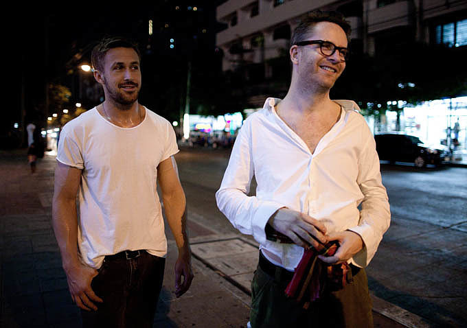 Just look at those smiles! Ryan Gosling looks adorable alongside director Nicolas Winding Refn.  Source: Bold Films