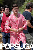 Zac Efron shot scenes for his mobie Townies in LA on Tuesday.