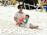 Alicia Keys played in the sand with her son.