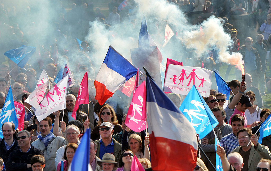 Those opposed to the law marched in Paris on Monday.