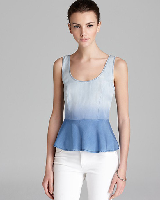 "This Towsen Moonshadow Peplum Top ($110) screams ""perfect Summer top,"" thanks to its dip-dyed denim finish."