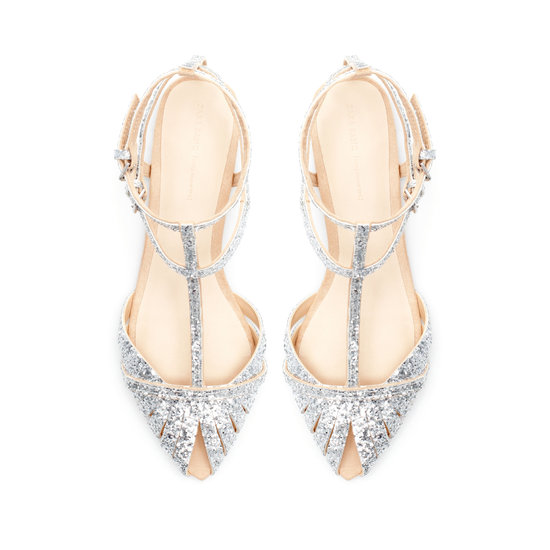 Zara's Glitter Flat Sandals ($70) are fun, affordable, and perfect for tall brides who want to be comfortable.