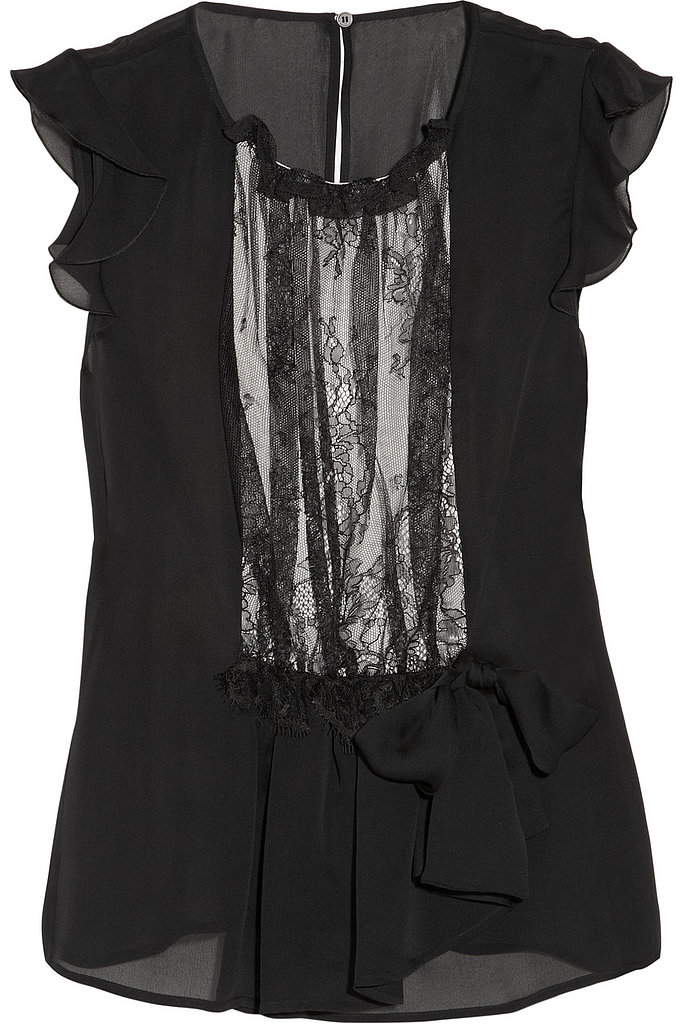 Valentino lace-trimmed silk-chiffon top ($235, originally $926)