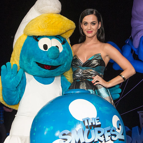 Katy Perry Wears Blue Dresses at Smurfs 2 Photocall