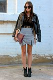 Temper a miniskirt with a leather jacket — not just to ward off the chill, but to lend a little cool-girl appeal, too. Source: Lookbook.nu