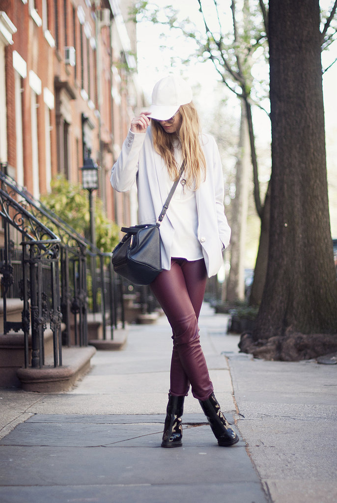 Give your darker bottoms a Spring-feeling touch with a fresh white top and blazer (bonus points for a cool-girl white cap). Source: Lookbook.nu