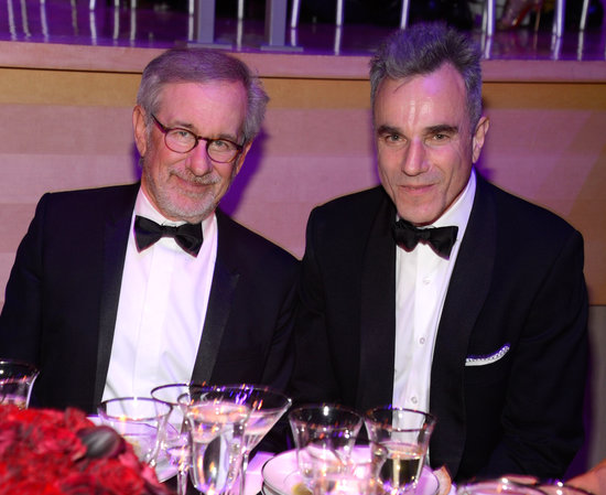Steven Spielberg and Daniel Day Lewis paused from their dinner for a photo.