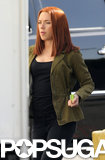 Scarlett Johansson Sports Red Hair on the Captain America Set