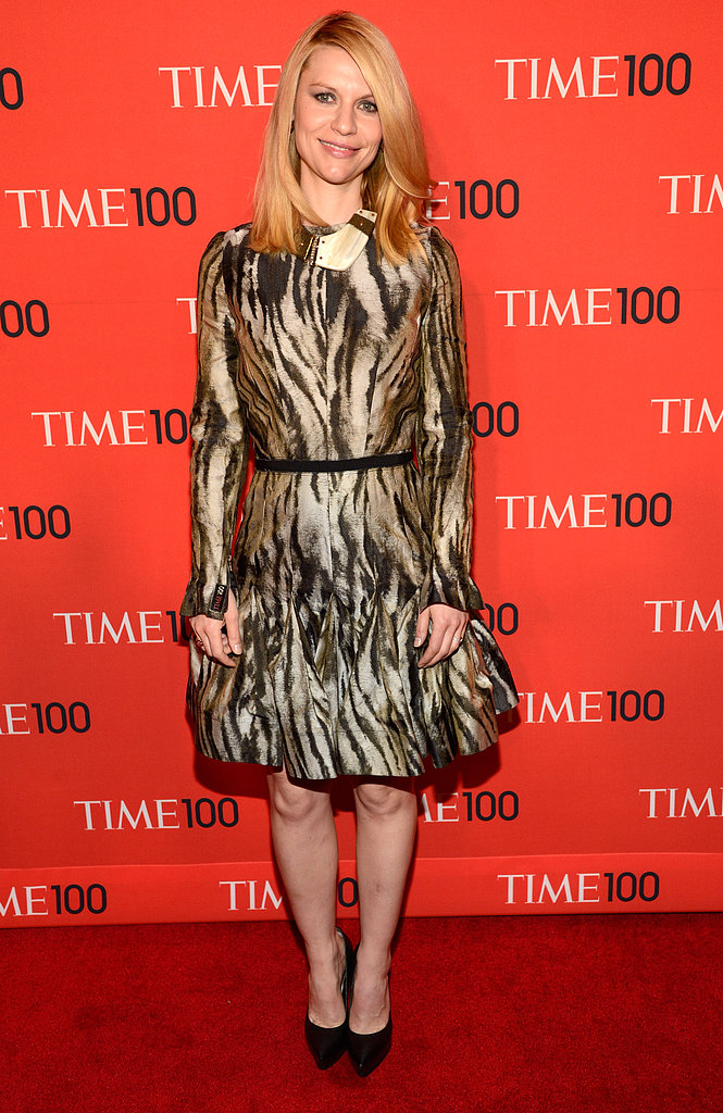 Claire Danes chose an animal-print Lanvin dress from the label's Pre-Fall 2013 lineup, and to add to the exotic feel, she accessorized with a tribal-inspired necklace. Her platform black pumps and straight, no-frills hair polished off the look.