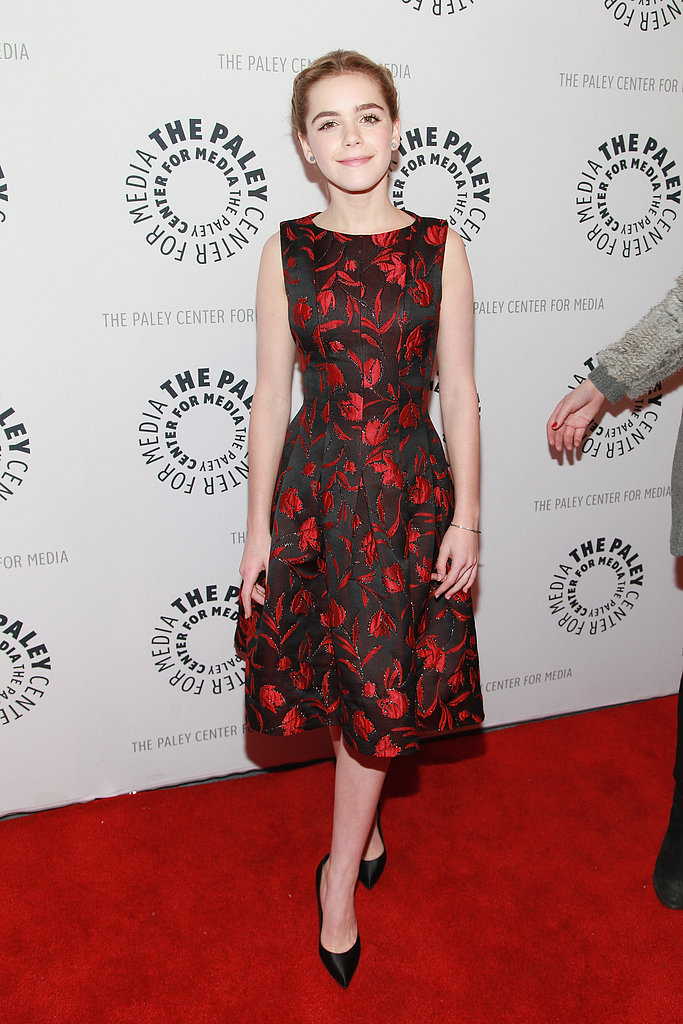 Kiernan Shipka donned a black and red number.